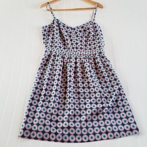 J. Crew SZ 12 Pink & Teal Flower Pattern Sun Dress